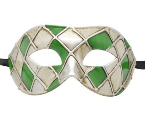 Green and White Harlequin Pattern Venetian Mask