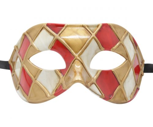 Gold, Red and White Harlequin Pattern Venetian Mask