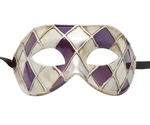 Purple, Silver and Gold Masquerade Mask