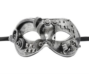 Steampunk Gear & Puzzle Silver Mask