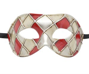 Red, Silver and Gold Masquerade Mask