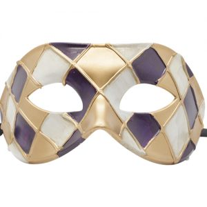 Gold, Purple and White Masquerade Mask