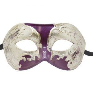 Purple and Silver Masquerade Mask with Music Note Pattern