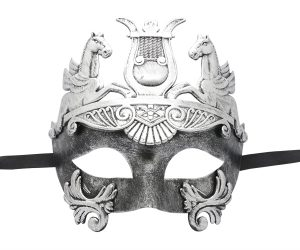 Roman Warrior Silver Black Masquerade Mask