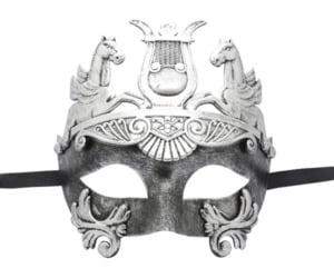 Roman Warrior Silver Black Masquerade Mask