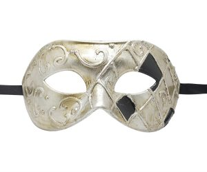 Check Silver and Black Masquerade Mask
