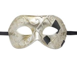 Check Silver and Black Masquerade Mask