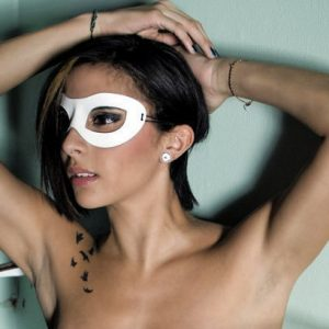Sly White Leather Eye Mask